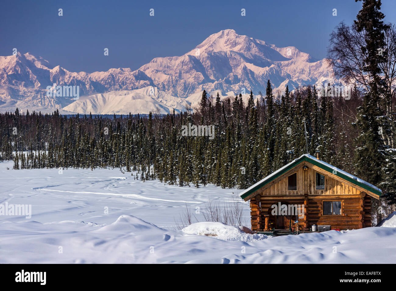 Log Cabin With Mt Mckinley And Alaska Range In The