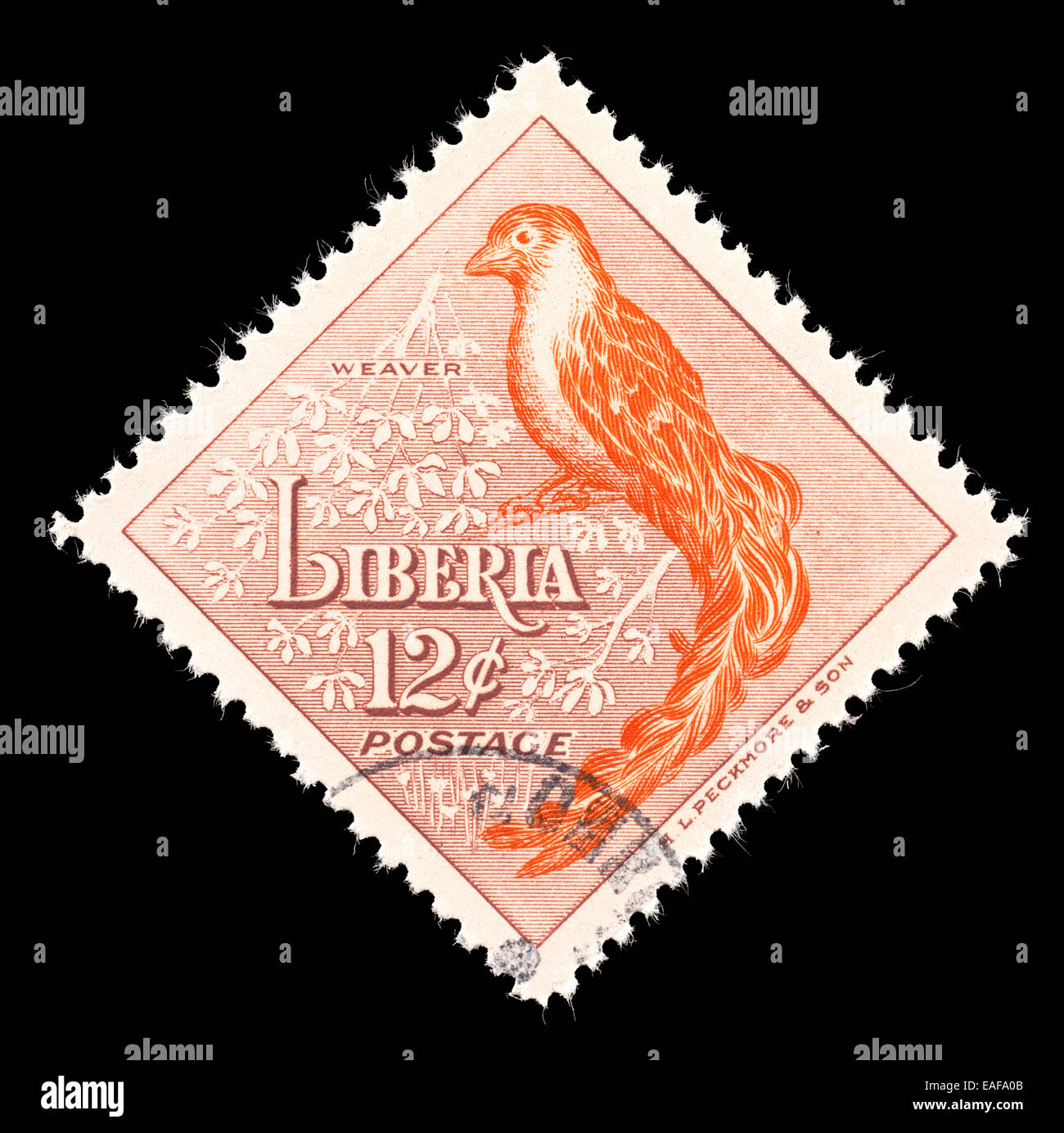 Postage stamp from Liberia depicting a weaver bird. - Stock Image