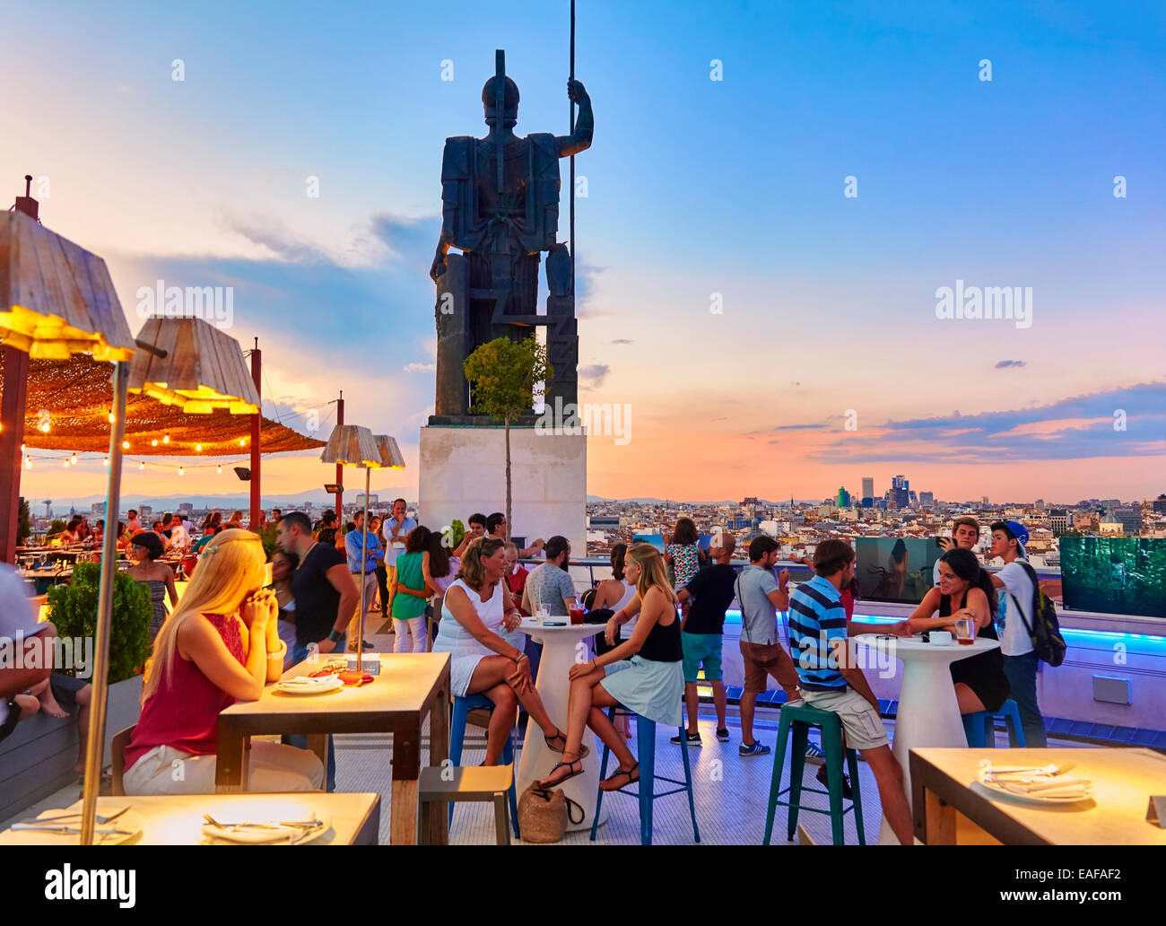 The Circulo de Bellas artes cultural center rooftop terrace. Madrid. Spain - Stock Image