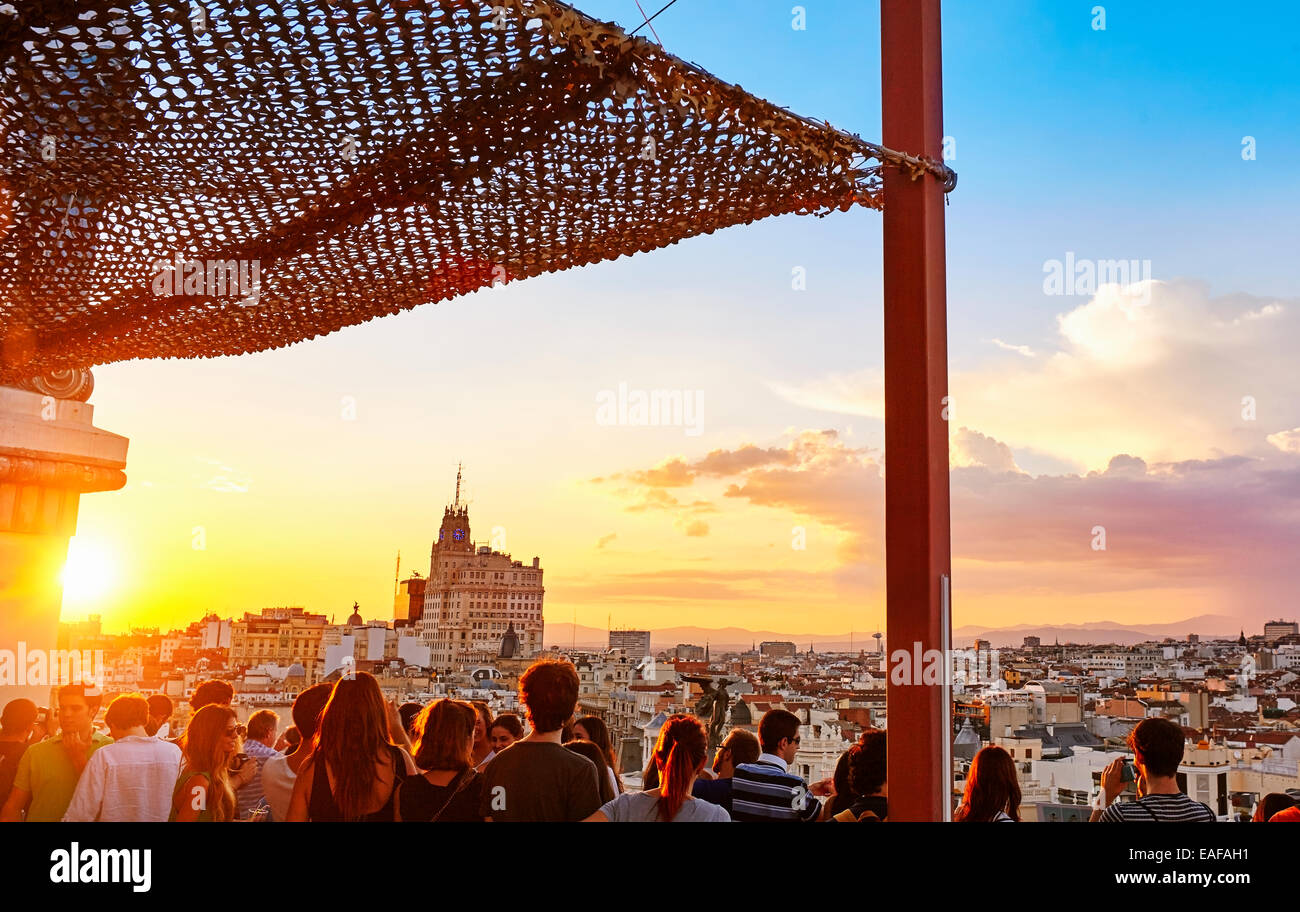 People Watching The Sunset From The Circulo De Bellas Artes