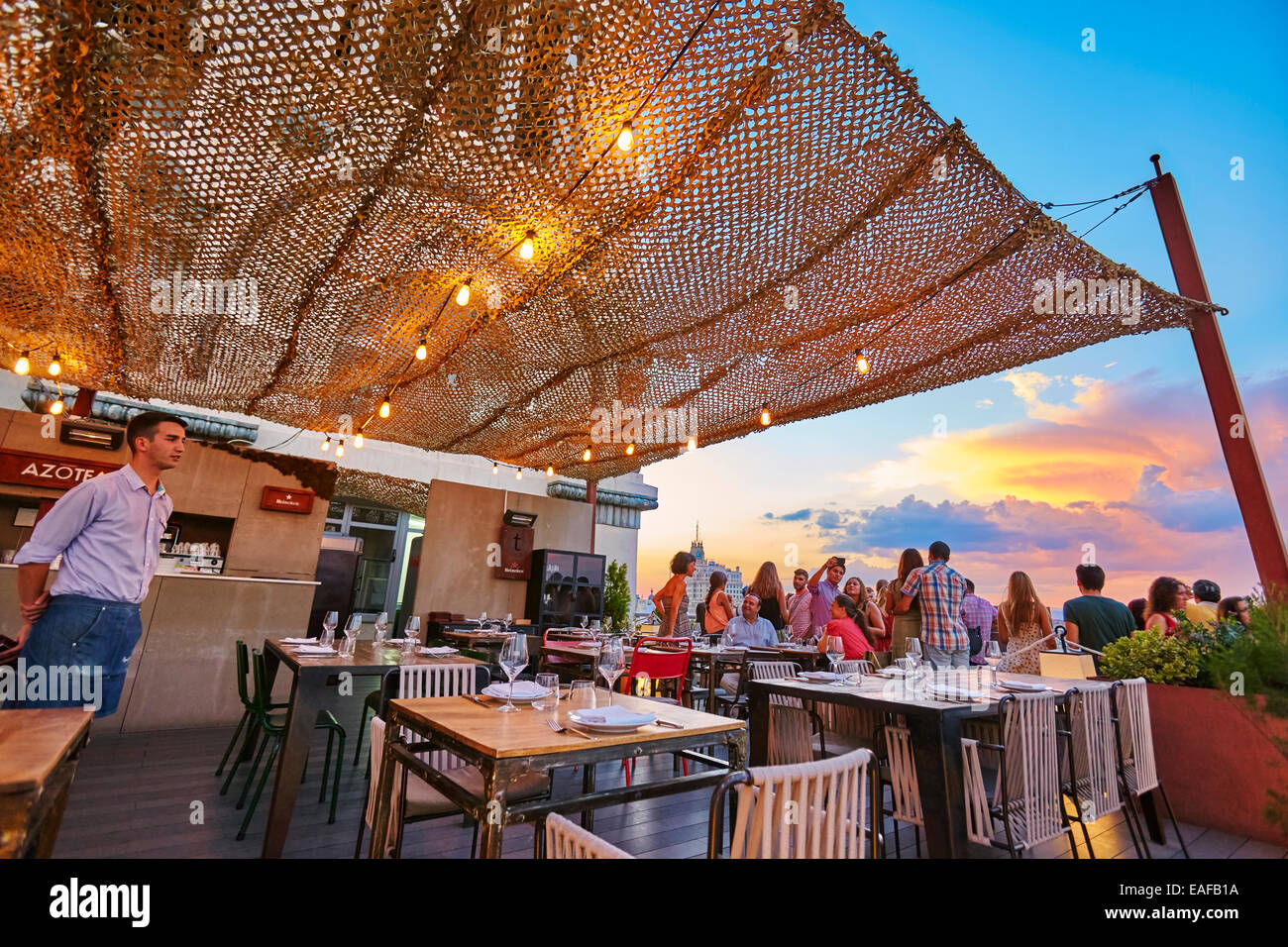 Restaurant at The Circulo de Bellas artes cultural center rooftop terrace. Madrid. Spain - Stock Image