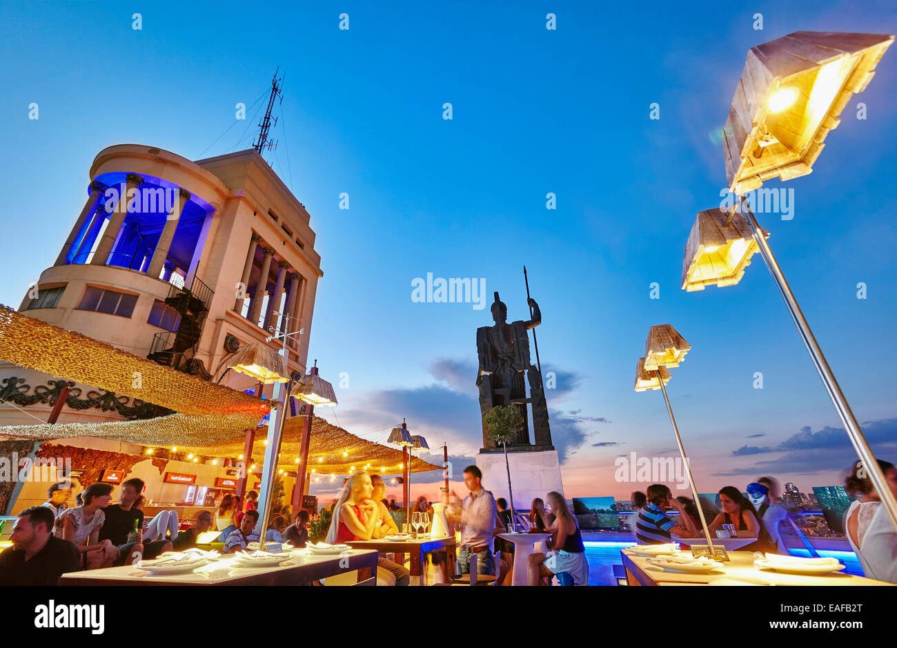 People at the sunset fromThe Circulo de Bellas artes cultural center rooftop terrace. Madrid. Spain - Stock Image