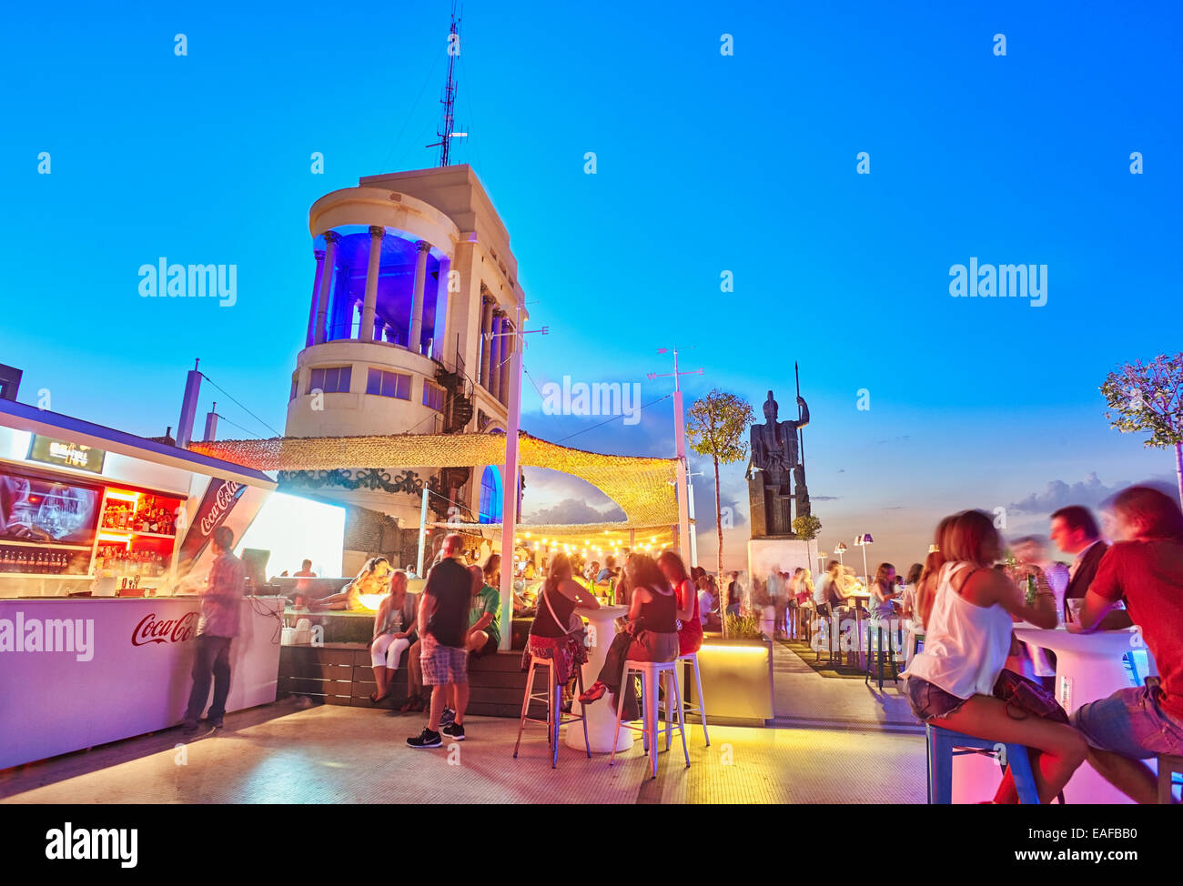 People at The Circulo de Bellas artes cultural center rooftop terrace. Madrid. Spain - Stock Image