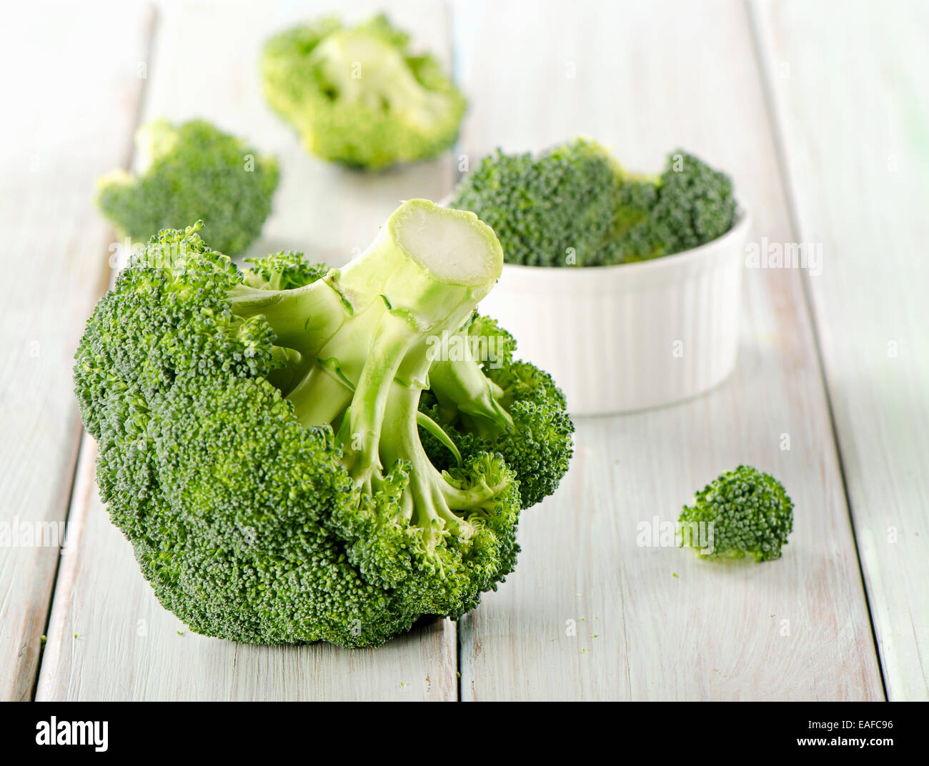 Broccoli on a wooden table. Selective focus - Stock Image