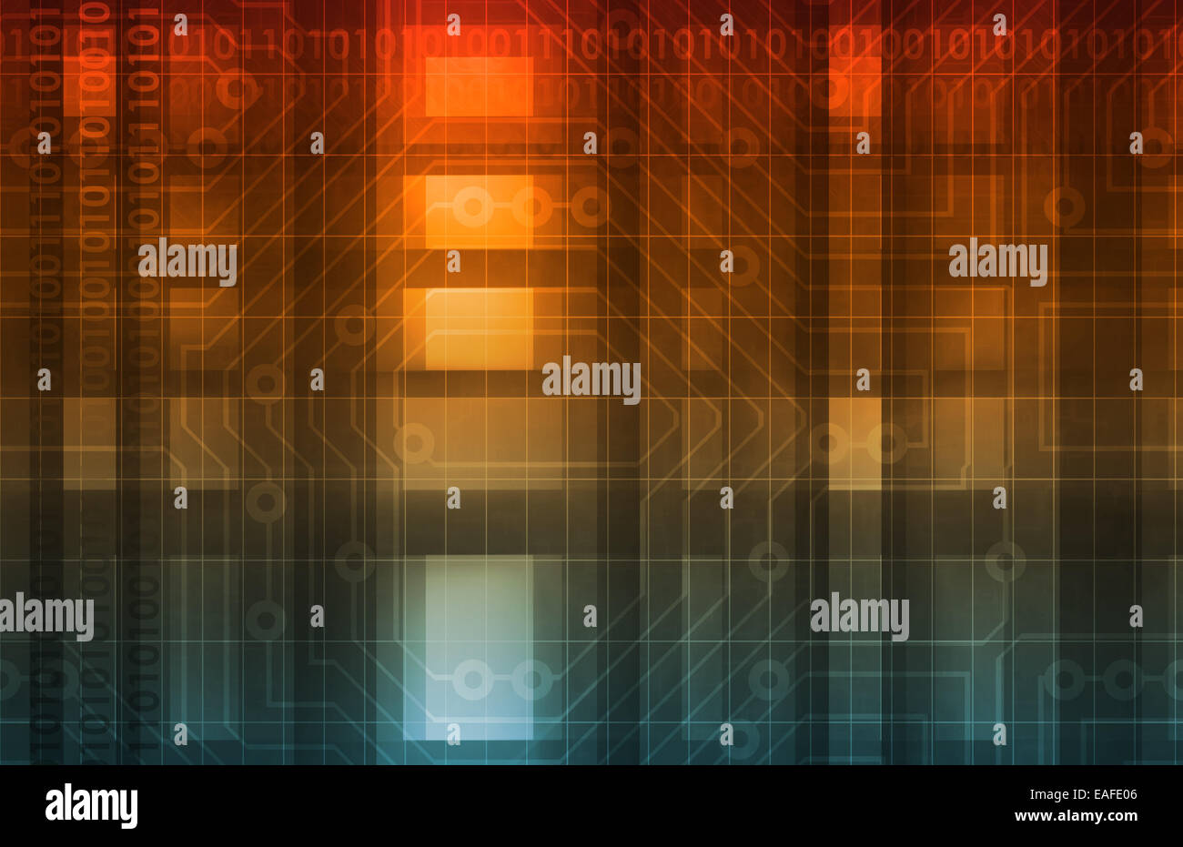 Energy Grid with Moving Electricity or Data - Stock Image