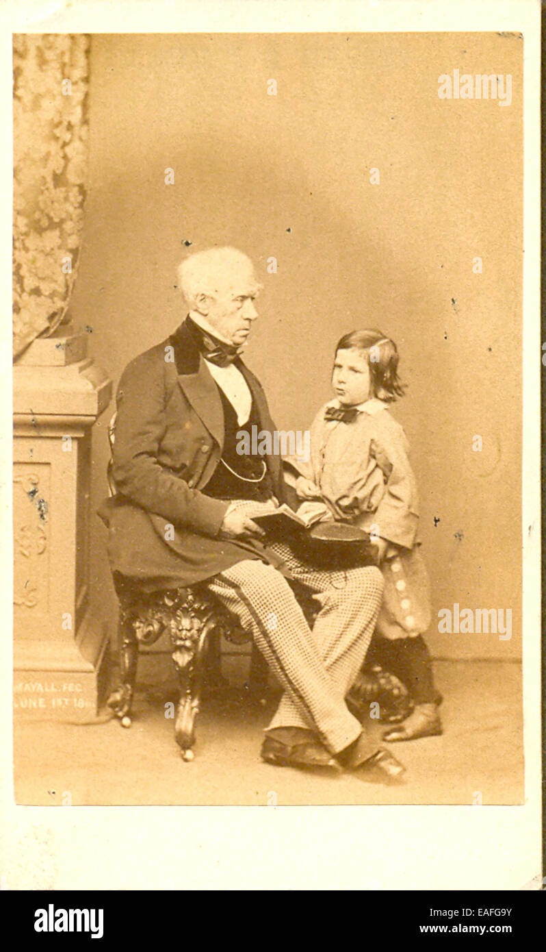 Carte de visite photograph of Lord Brougham with his nephew - Stock Image