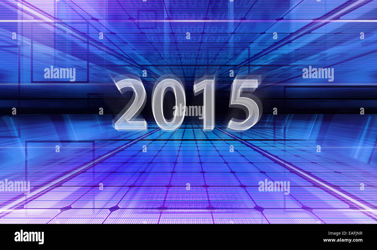 Technology background with transparent figures 2015 for New Year - Stock Image