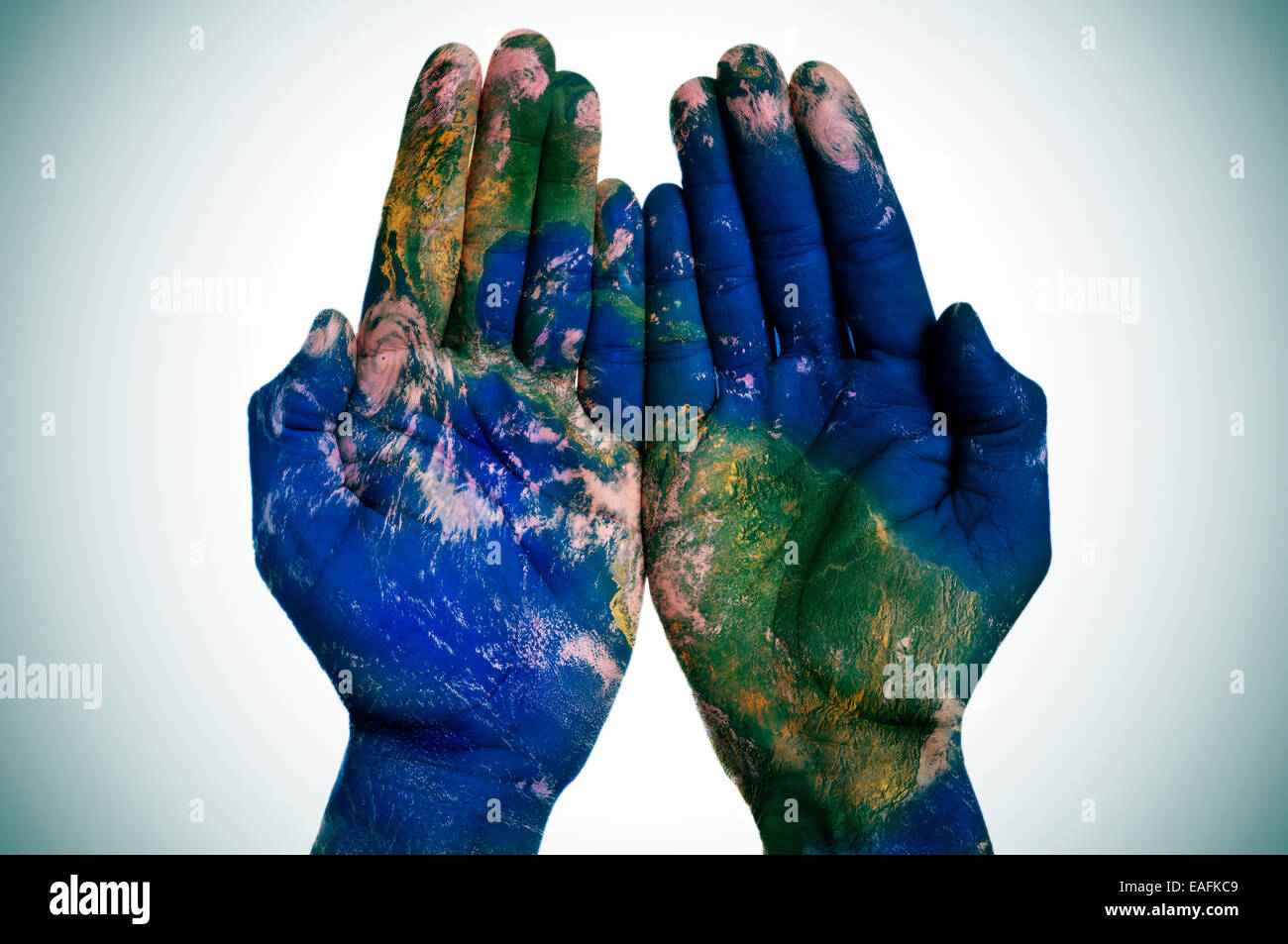 World Map On Hands.A World Map In Open Man Hands Earth Map Furnished By Nasa Stock