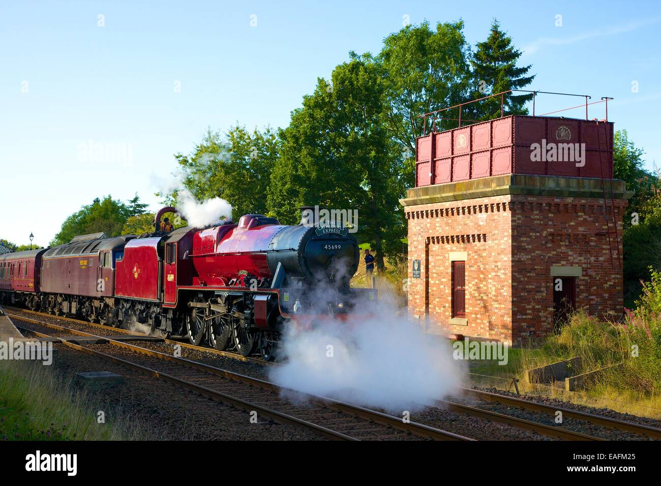 Steam train the Galatea at Appleby Station, Appleby-in-Westmorland, Cumbria, Settle to Carlisle Railway Line, England, - Stock Image