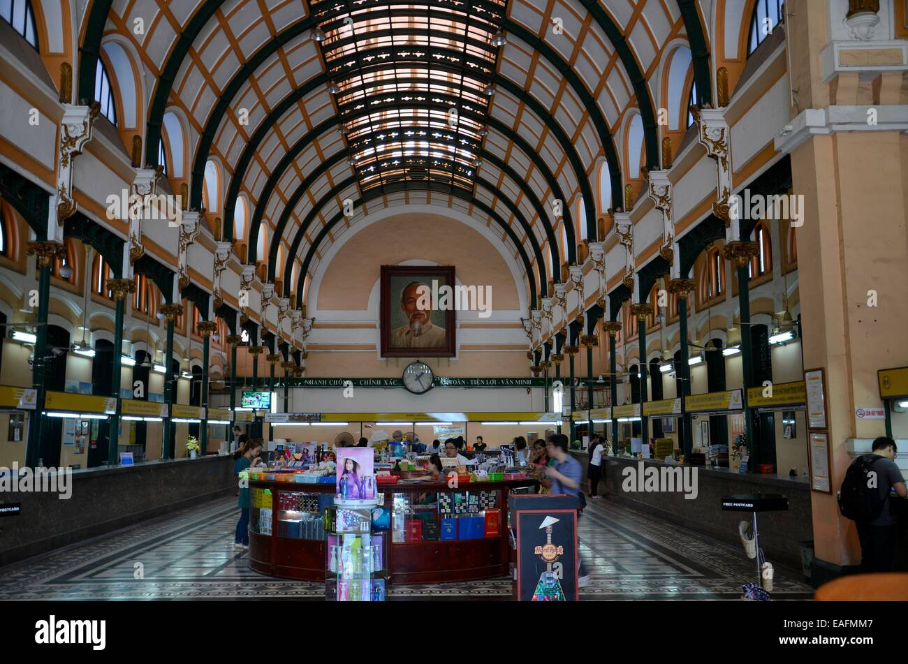 Interior hall of historic Saigon Central Post Office building Ho Chi Minh City Vietnam - Stock Image