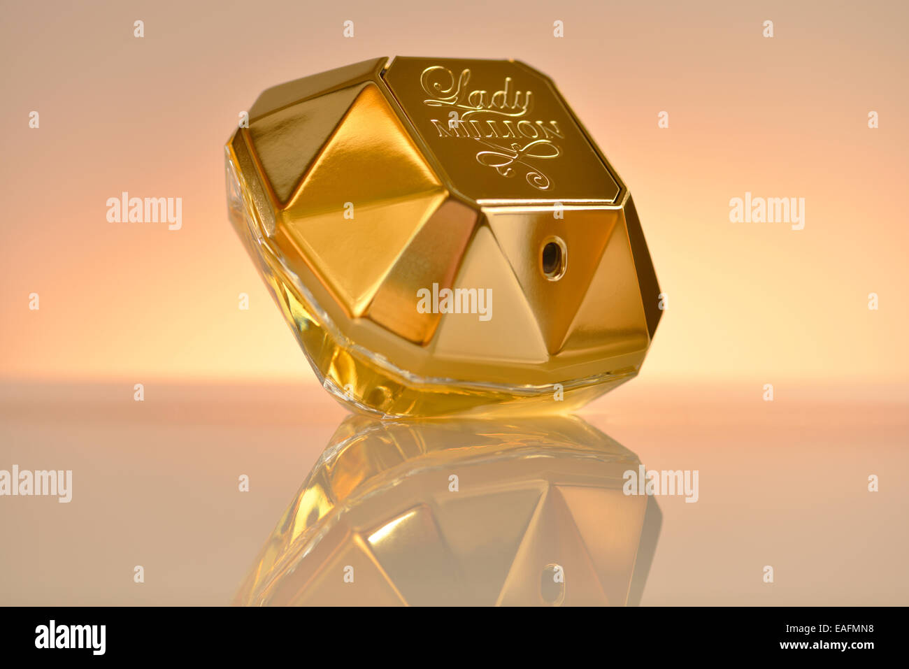 Bottle of Lady Million perfume by Paco Rabane - Stock Image