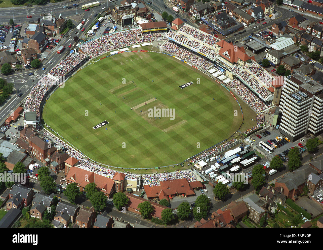 aerial view of Trent Bridge cricket ground during an International 1-day game between England and West Indies, 20th - Stock Image
