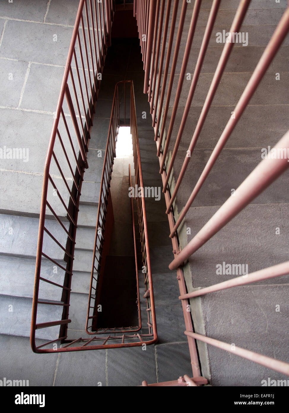 View directly above a staircase - Stock Image