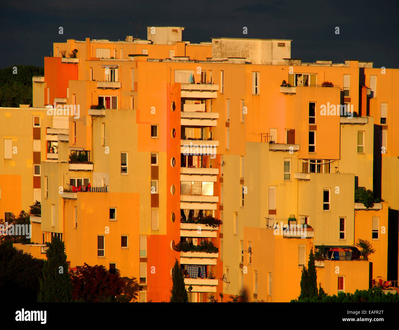 Residential building at sunrise. France. Europe. - Stock Image