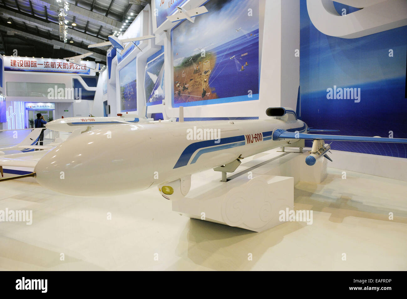 Zhuhai, China. 14th Nov, 2014. A high-speed WJ-600A/D unmanned aerial vehicle (UAV)  is displayed at the 10th China - Stock Image