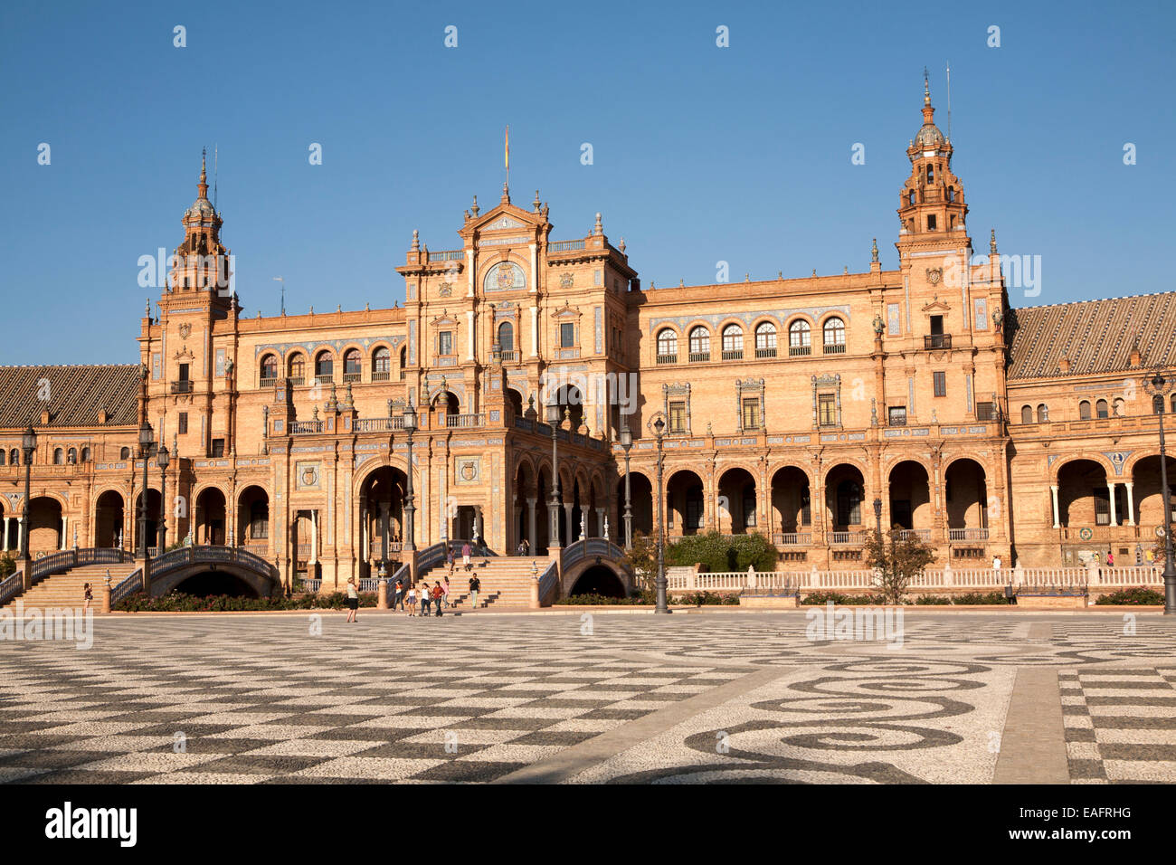 The Plaza de España, Seville, Spain built for the Ibero-American Exposition of 1929. It is a landmark example - Stock Image