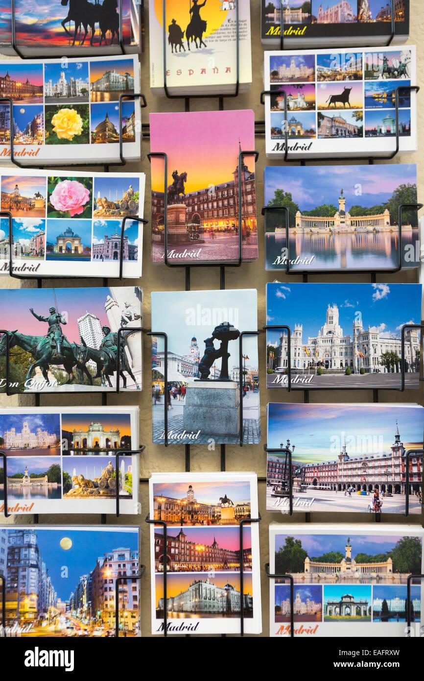 Spain, Madrid, tourist postcards on display near Plaza mayor. - Stock Image