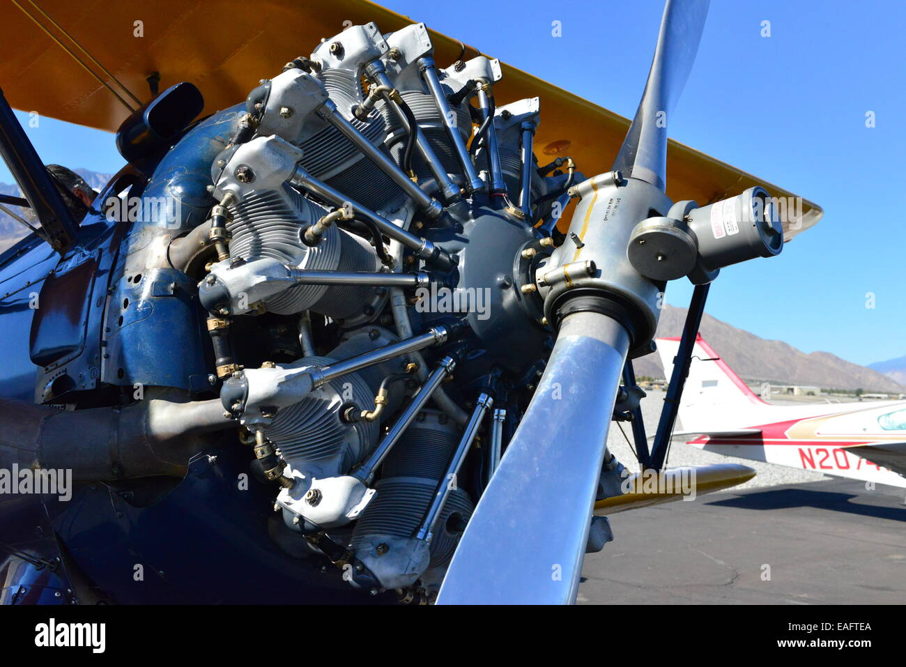 A Boeing Stearman at Palm Springs Airport, California. Stock Photo