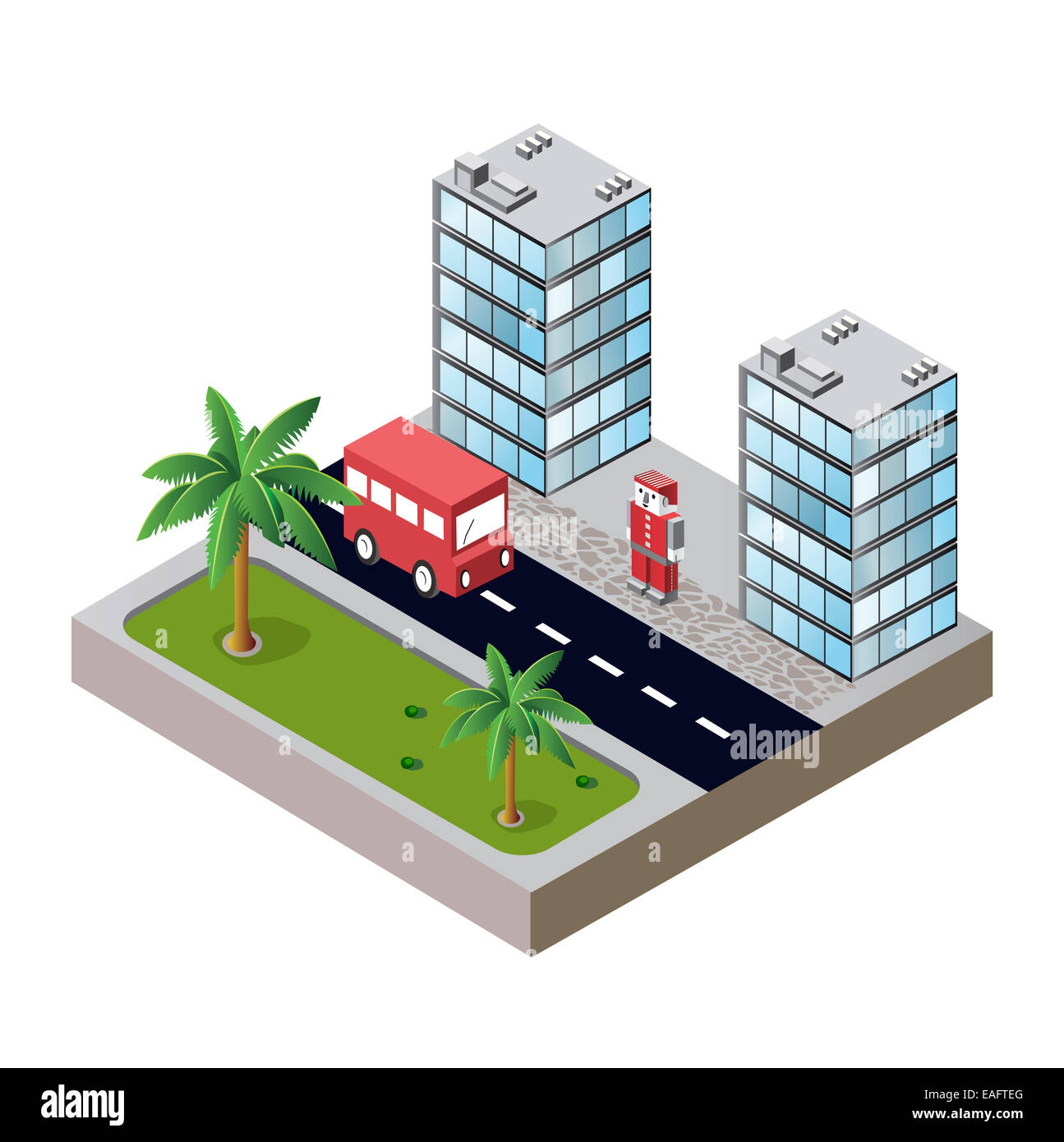 city block with houses and roads - Stock Image