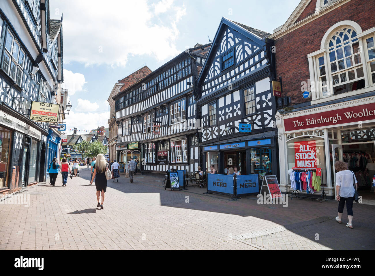A general view of the Black and White buildings in High Street in Nantwich Cheshire England UK - Stock Image