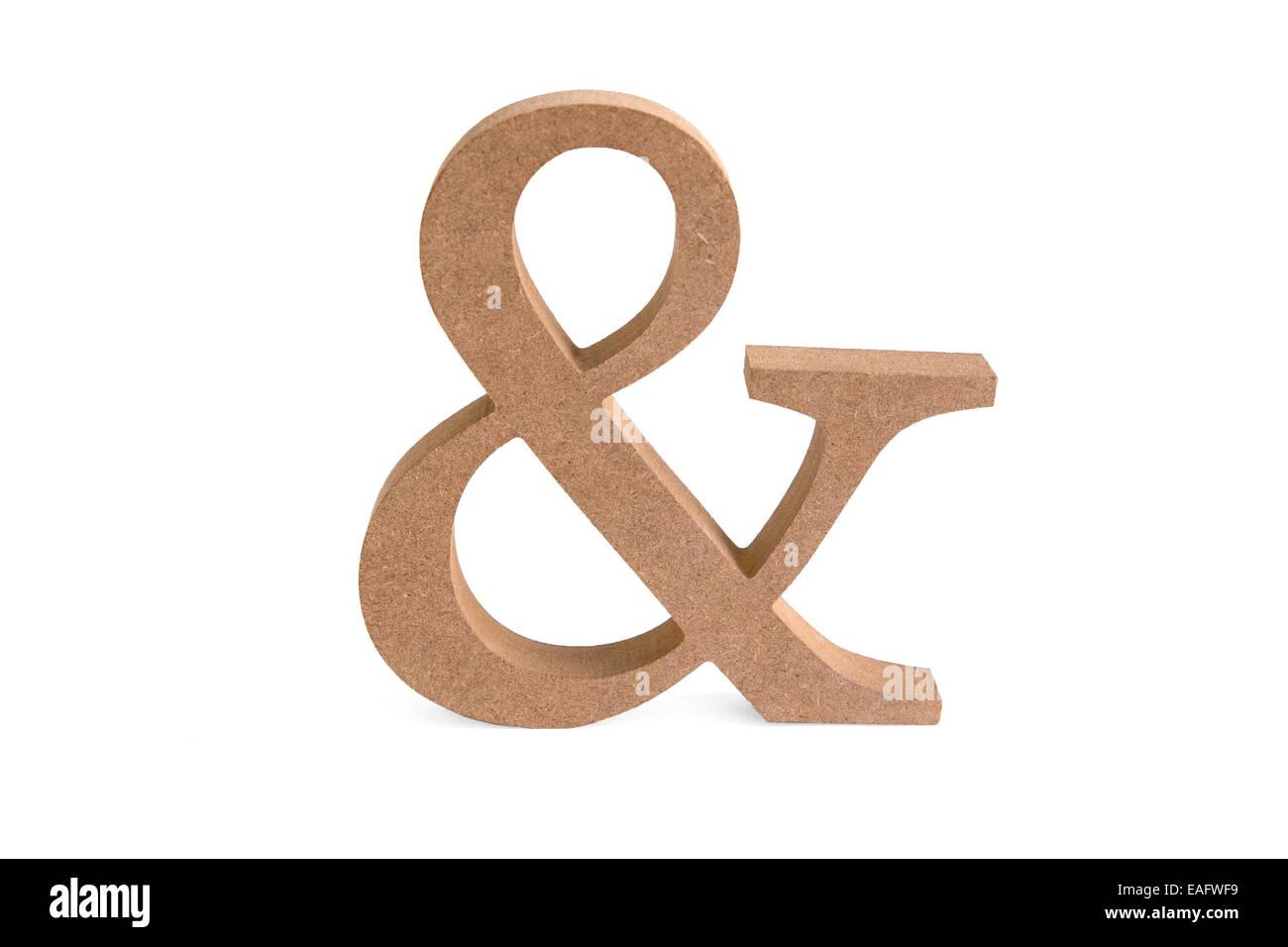 Und Zeichen gemeinsam Zusammen Holz Maserung Sperrholz Buche Eiche Eichenholz Laser gelasert ausgeschnitten geschnitten - Stock Image
