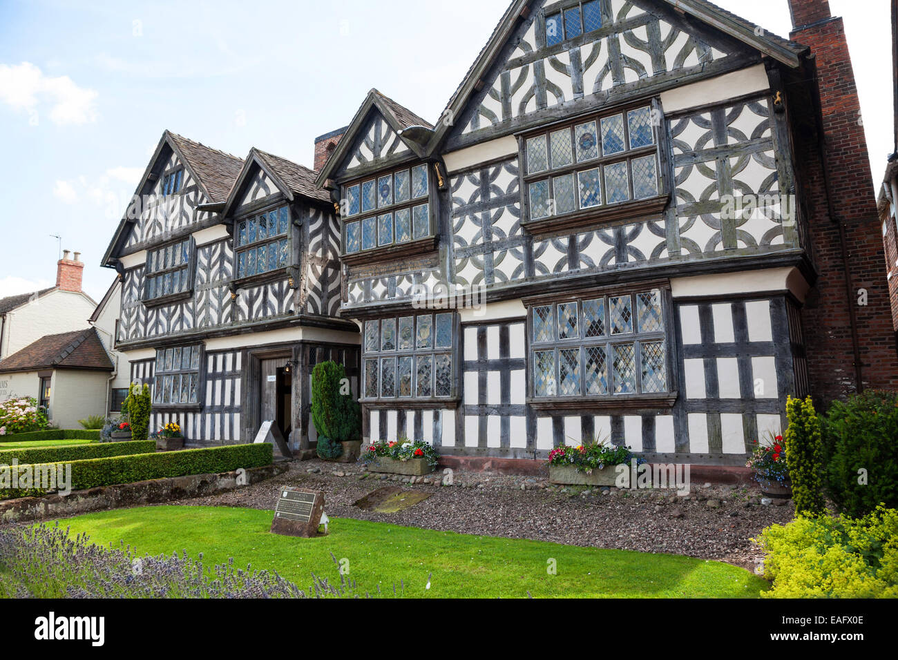 Churche's Mansion is a timber-framed, black-and-white Elizabethan mansion house at Hospital Street in Nantwich Cheshire Stock Photo