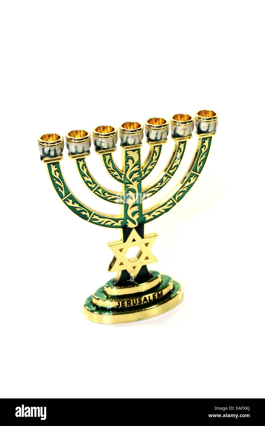 Menorah with Star of David on a light background - Stock Image