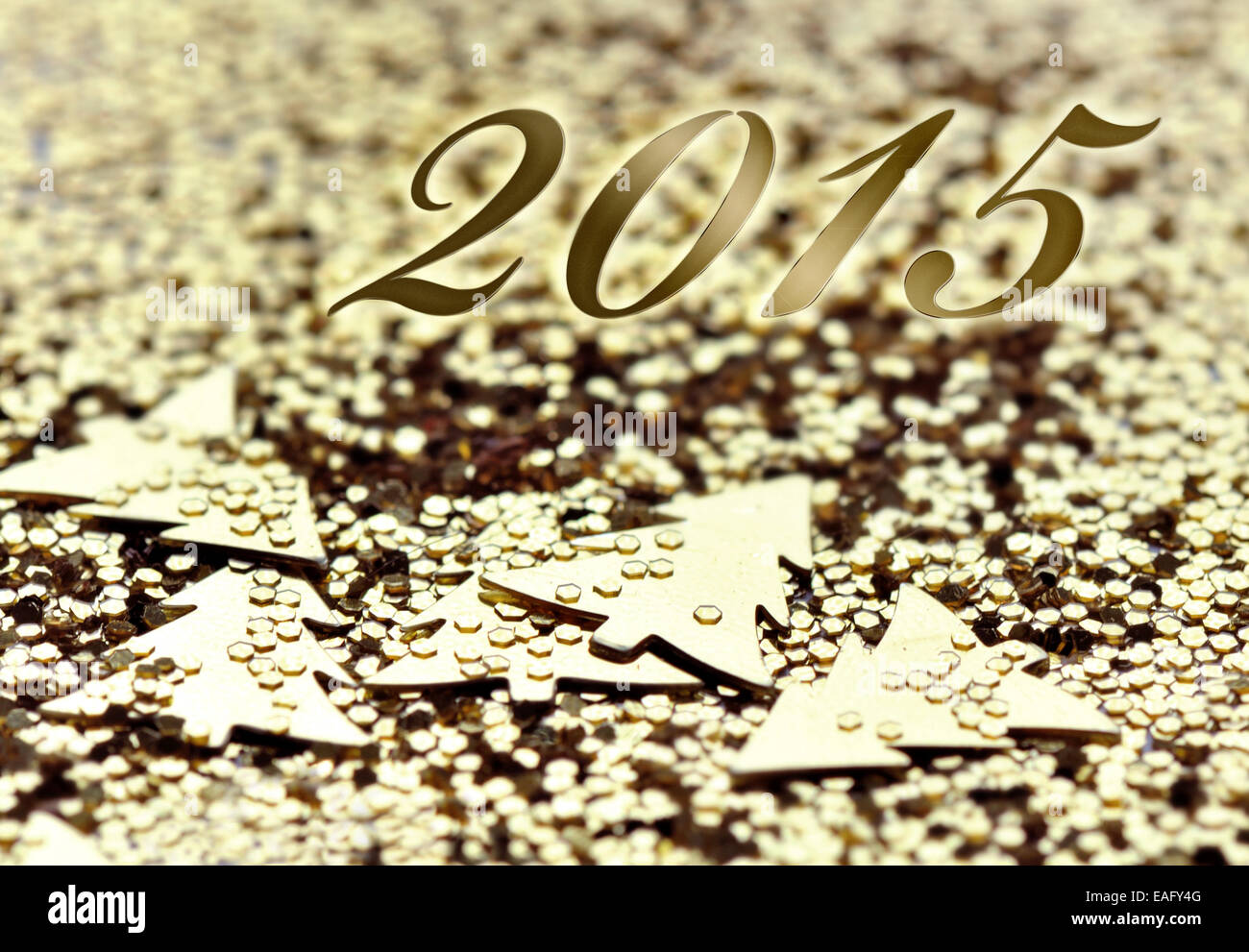 2015 on golden confettis and glitters background Stock Photo