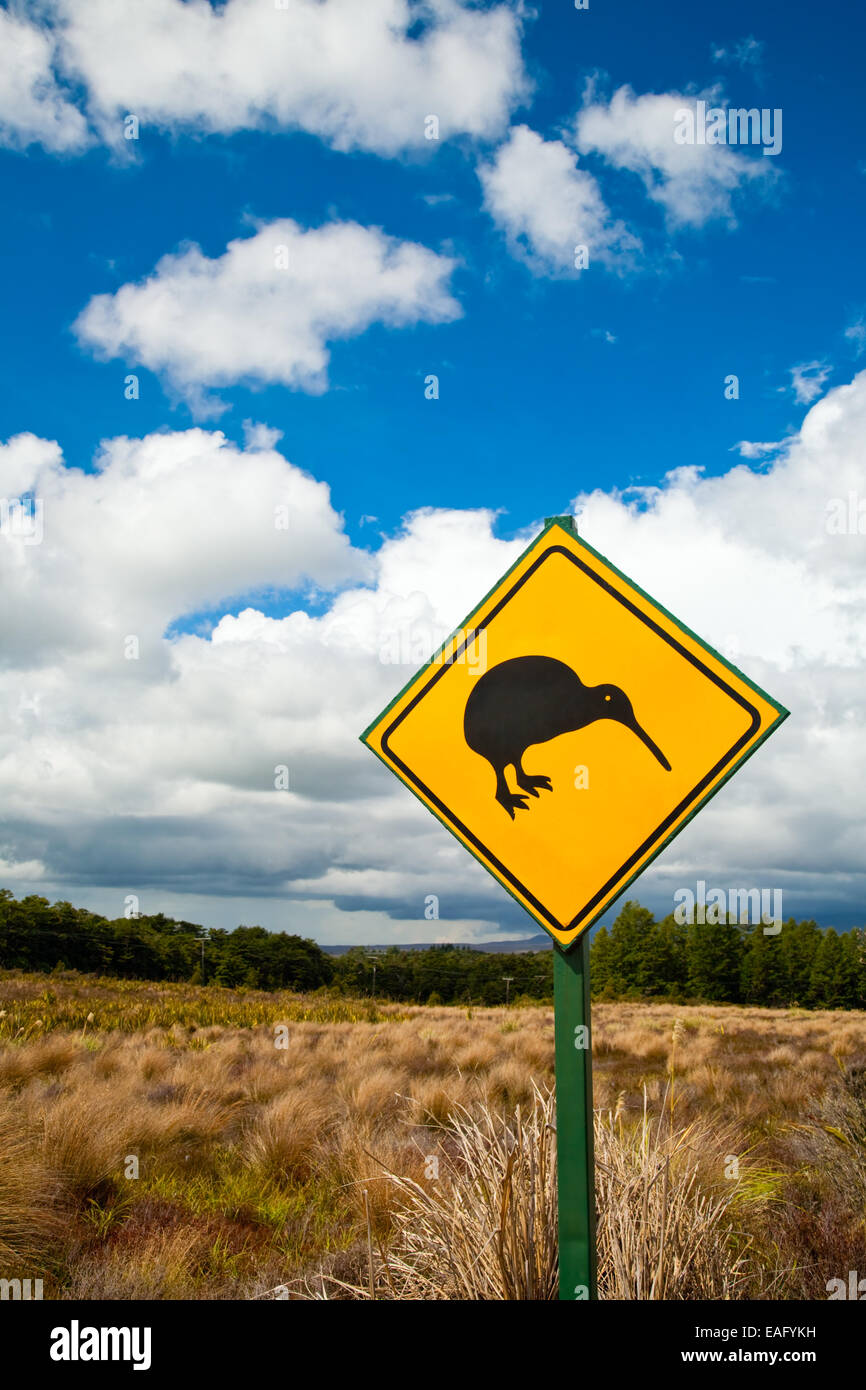 Kiwi crossing road sign against cloudy sky at New Zealand - Stock Image