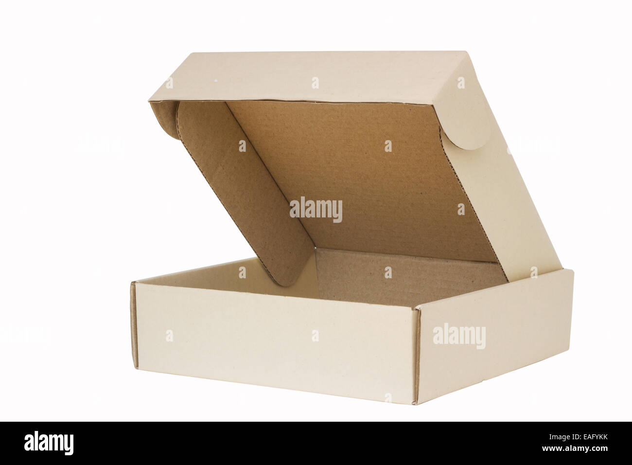 Cardboard box with flip open lid, lid open, isolated on white. - Stock Image