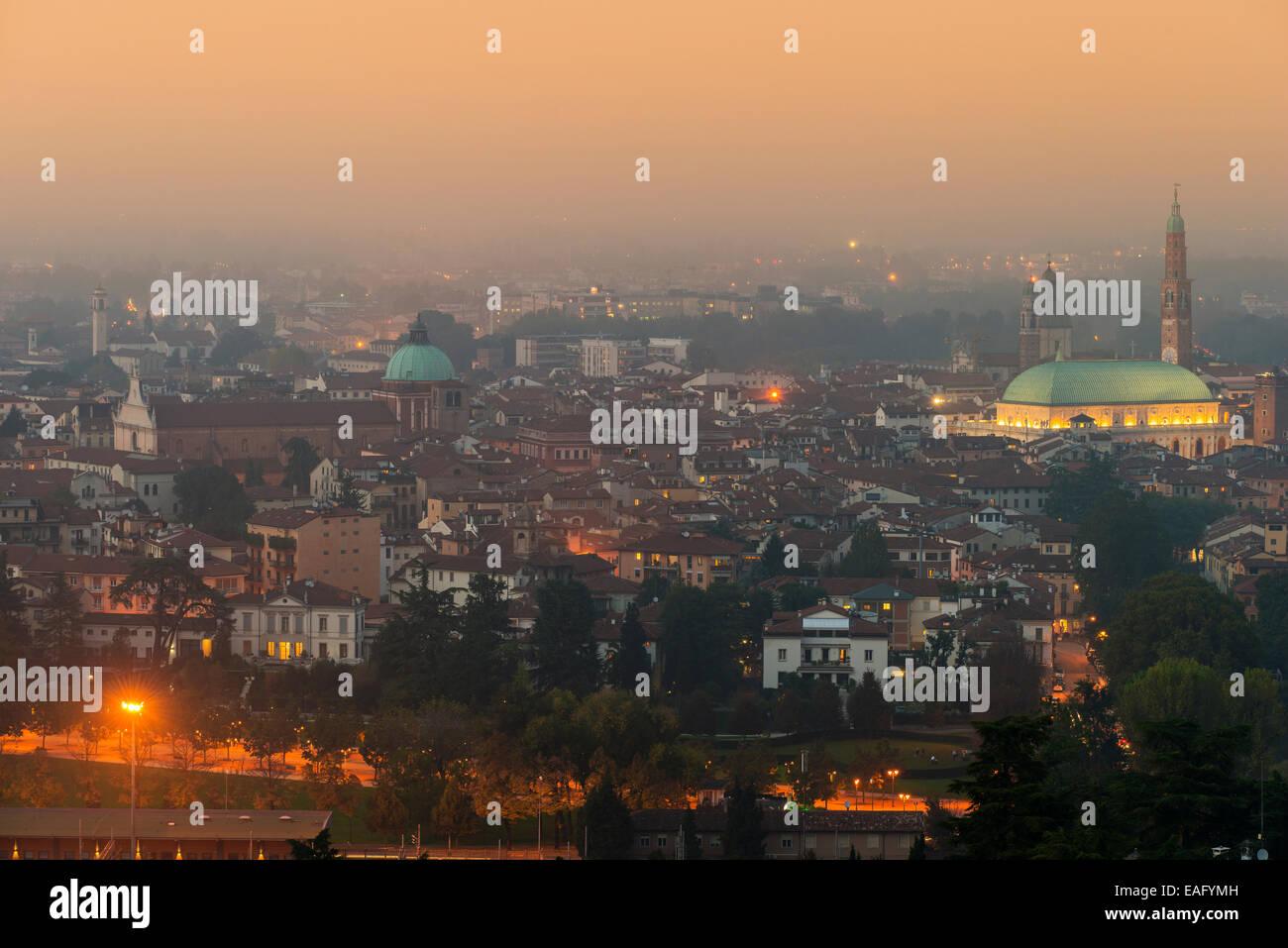 City skyline at sunset, Vicenza, Veneto, Italy - Stock Image
