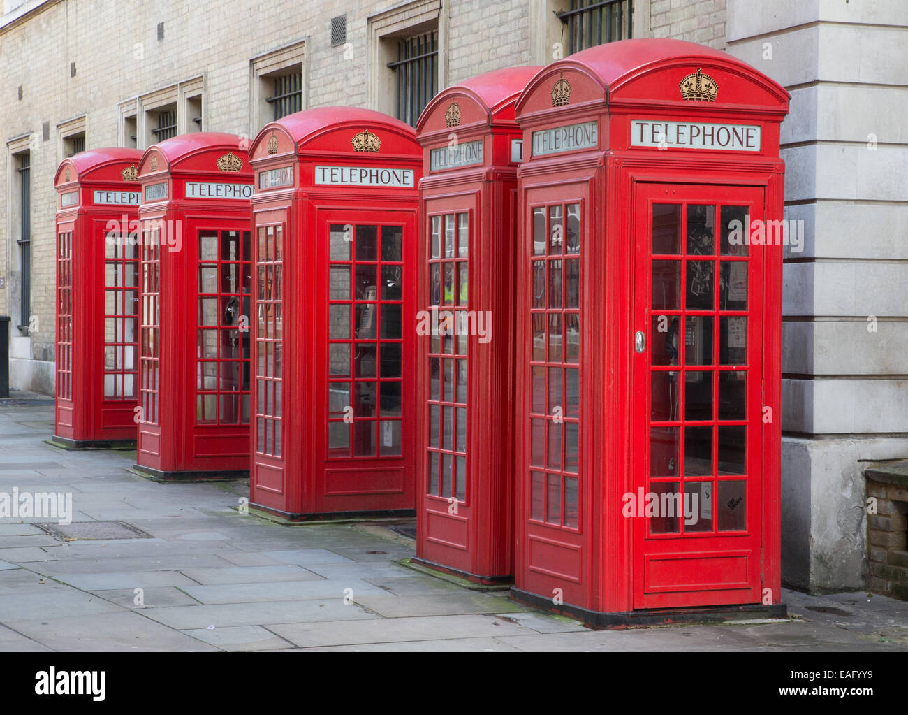 K2 Red telephone boxes designed by Sir Giles Gilbert Scott in the 1920's - Stock Image