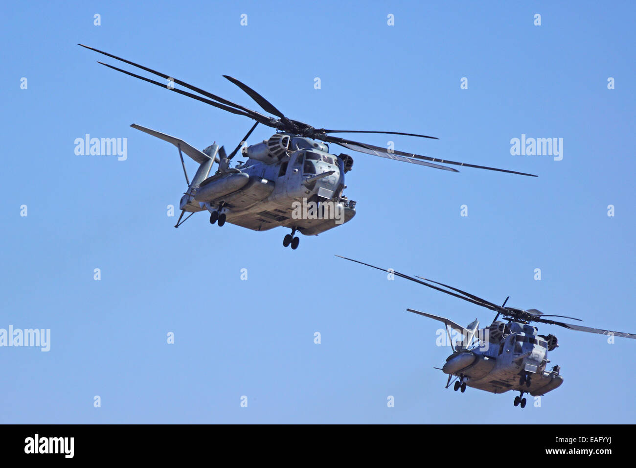 CH-53 Super Stallion Helicopters flying at the 2014 Miramar Air Show - Stock Image