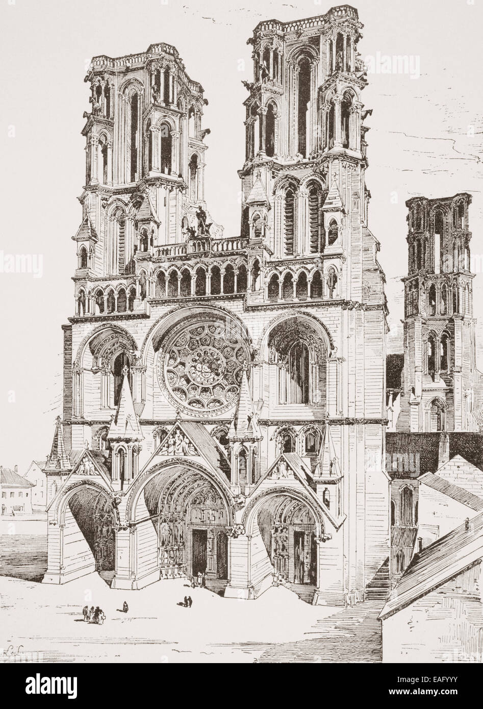 Western facade of Laon Cathedral, Picardy, northern France. Stock Photo