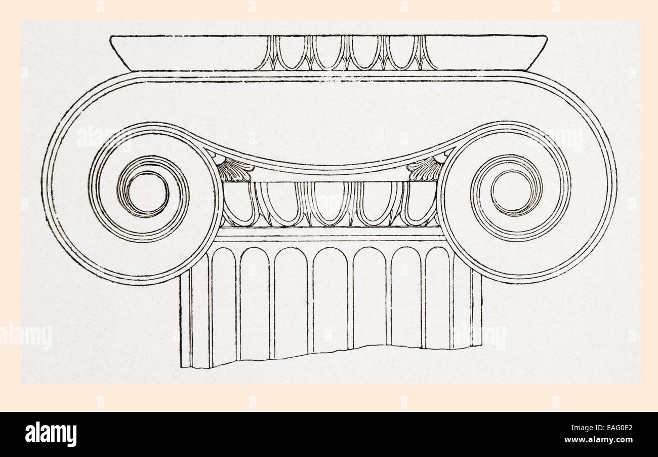 Detail of the volutes of the capital on an Ionic order column at the Propylaea, or entrance, to the Acropolis in - Stock Image