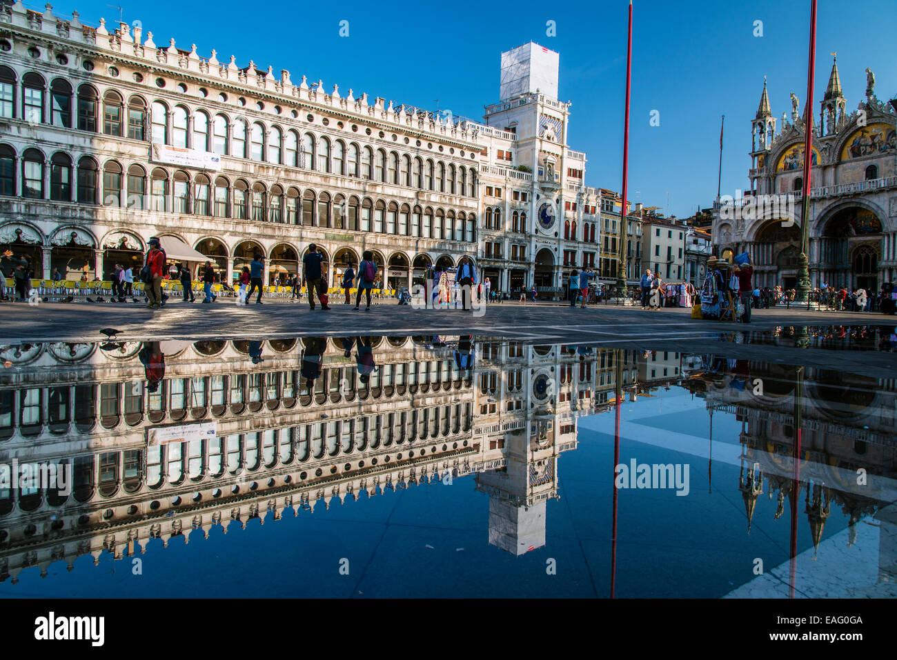 St. Mark's square reflected in a puddle, Venice, Veneto, Italy - Stock Image