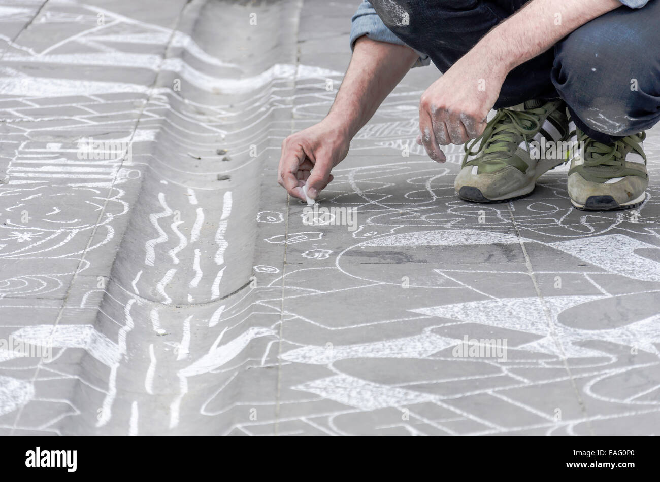 17 APRIL; 2014 KLUB 7 chalk session in front of the Galata tower - ISTANBUL - Stock Image
