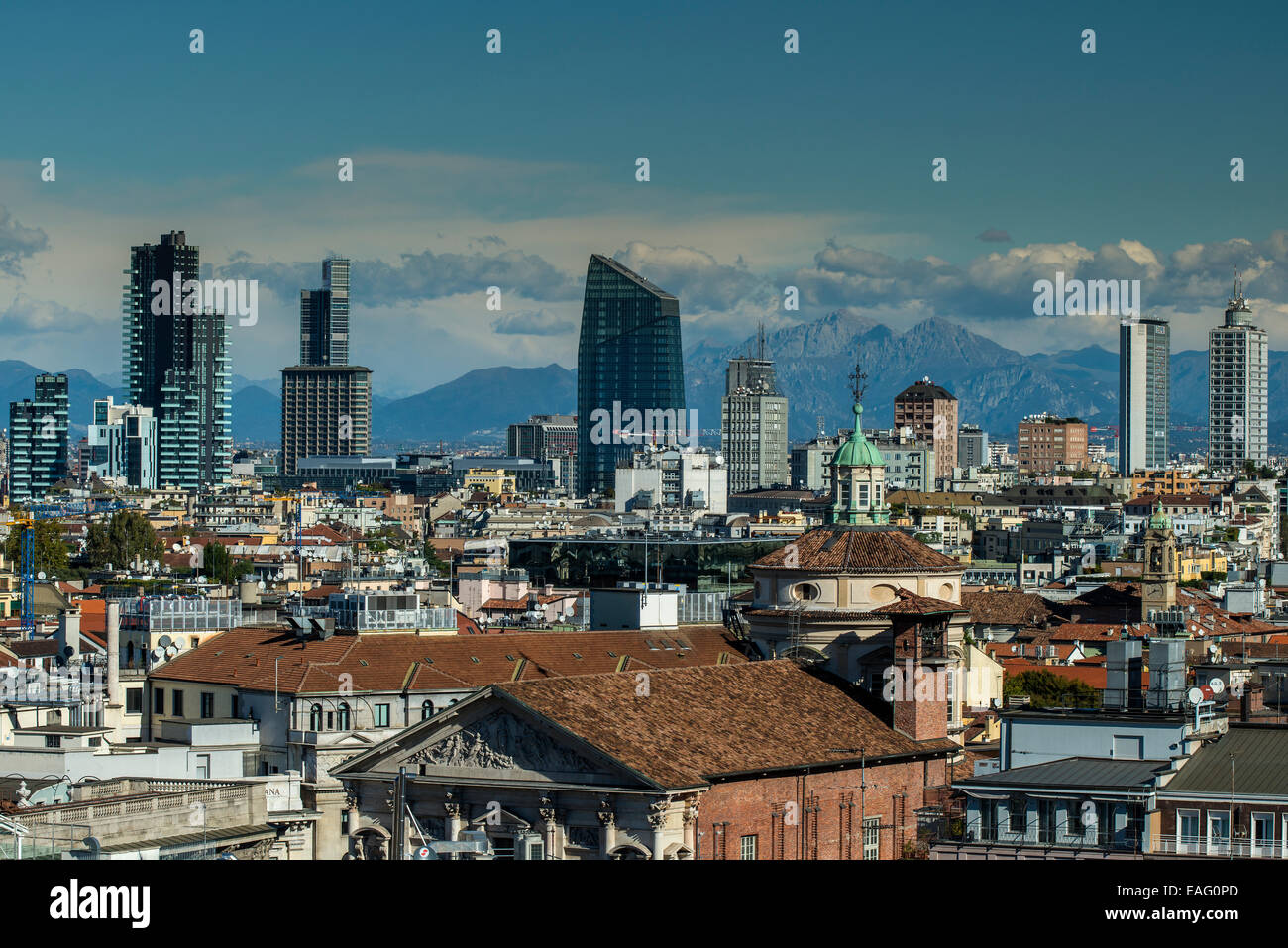 City skyline with the Alps in the background, Milan, Lombardy, Italy - Stock Image