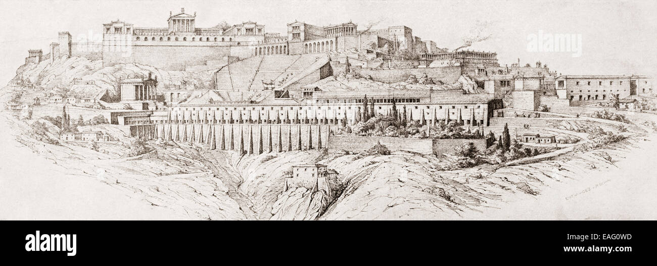 Late 19th century reconstruction of  the ancient Greek city of Pergamon or Pergamum, now Bergama, Izmir Province, - Stock Image