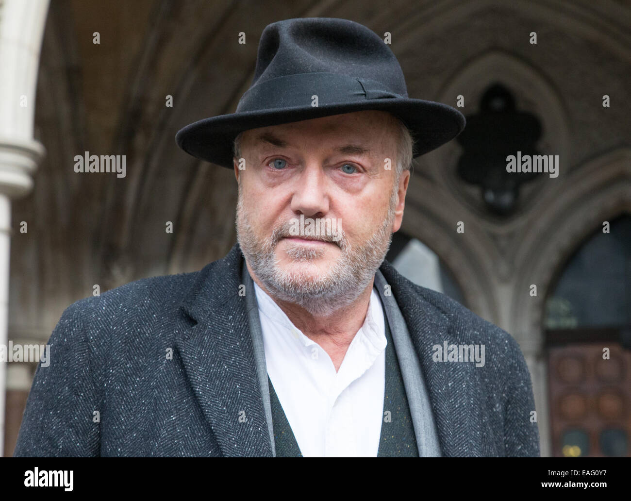 George Galloway arrives the the High Court to give evidence in the inquest into the death of Moazzam Begg - Stock Image