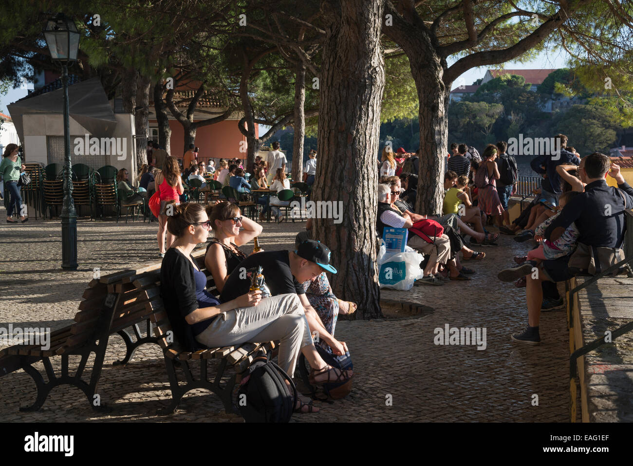 People at Graca Viewpoint, Lisbon, Portugal - Stock Image