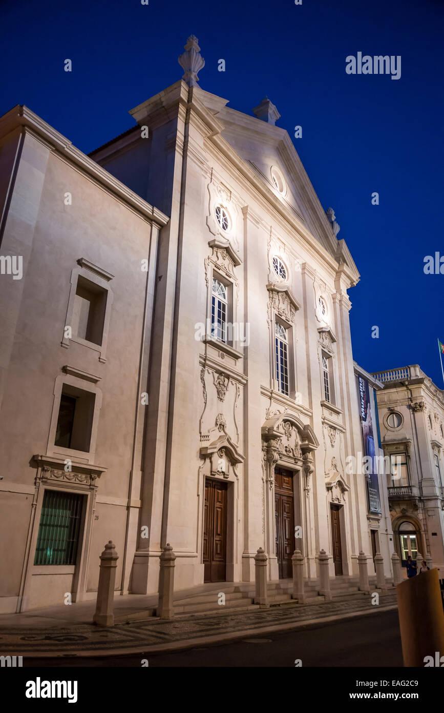 King Dinis' Wall Interpretation Centre, Banco de Portugal, Largo de S. Julião, Lisbon, Portugal - Stock Image