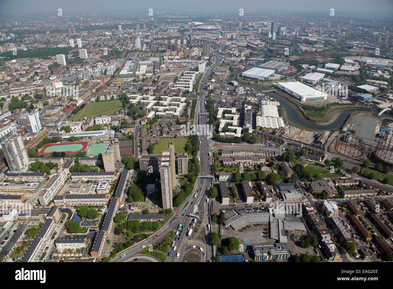 aerial view looking north up the A12 main road in Poplar, East London - Stock Image