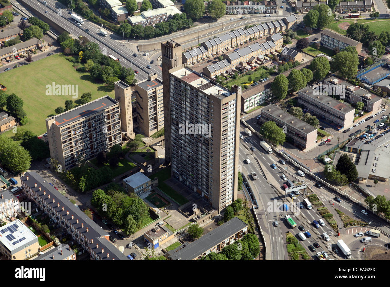 aerial view of Balfron Tower in Poplar, East London - Stock Image