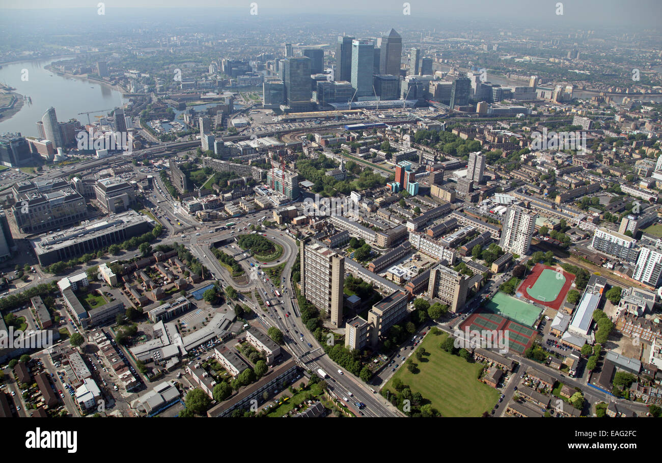 aerial view of the A12 A13 interchange near the Balfron Tower in Poplar looking south west towards Canary Wharf - Stock Image