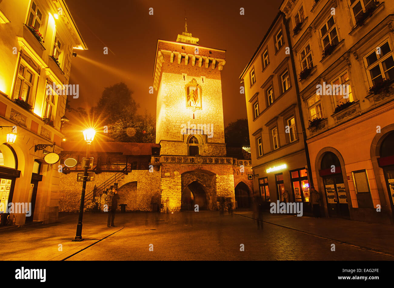 Florentine gate at night - Stock Image