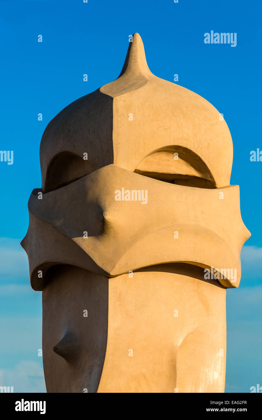 Chimney or ventilation tower on the rooftop of Casa Mila or La Pedrera, Barcelona, Catalonia, Spain - Stock Image