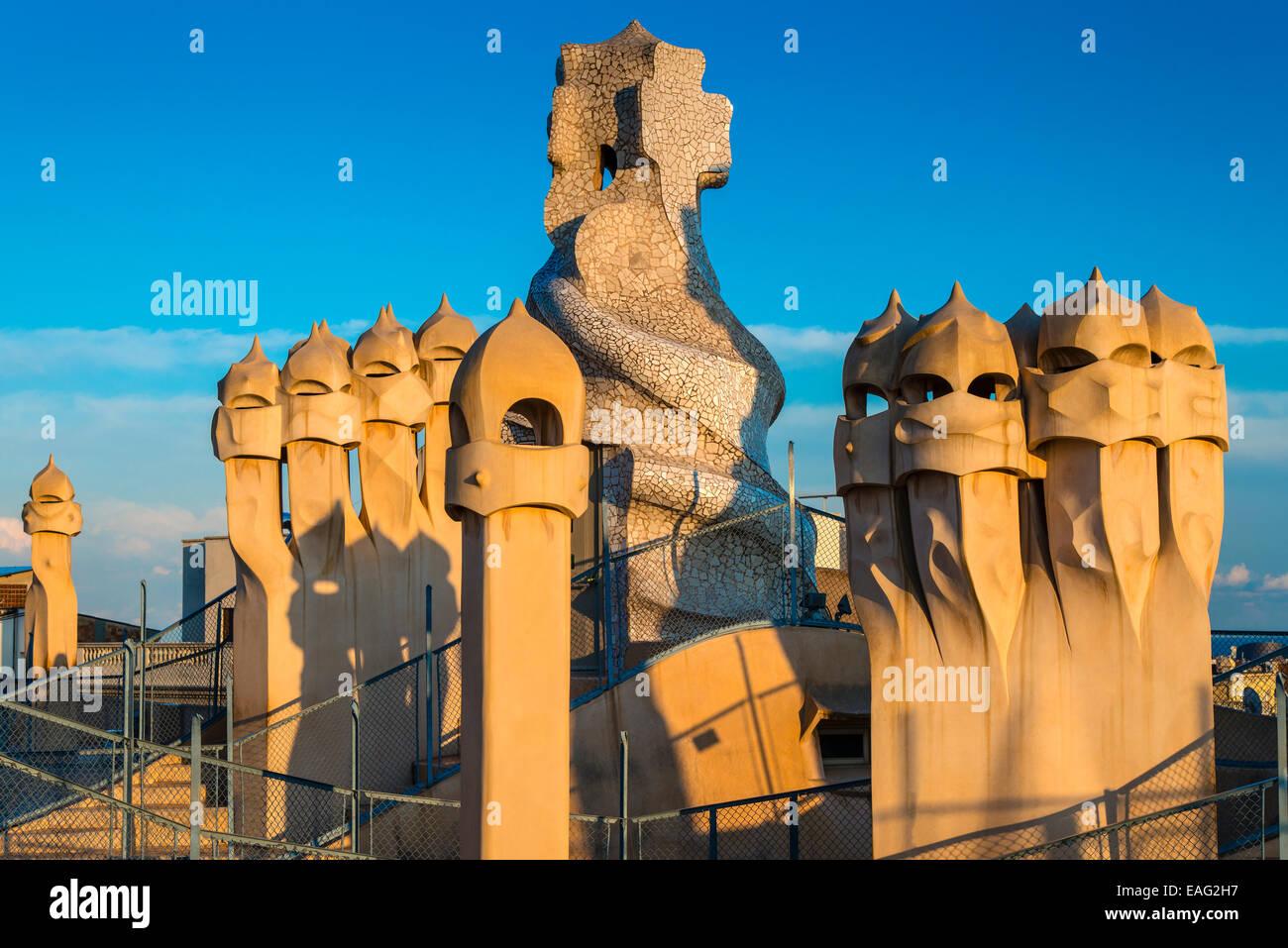 Rooftop of Casa Mila or La Pedrera, Barcelona, Catalonia, Spain - Stock Image