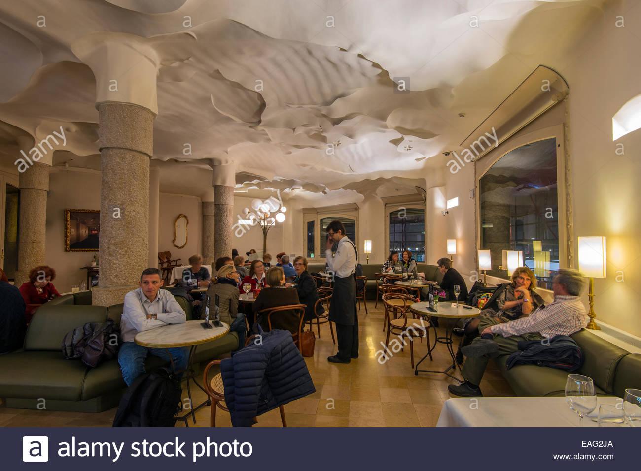 Cafe de la Pedrera located inside Casa Mila, Barcelona, Catalonia ...