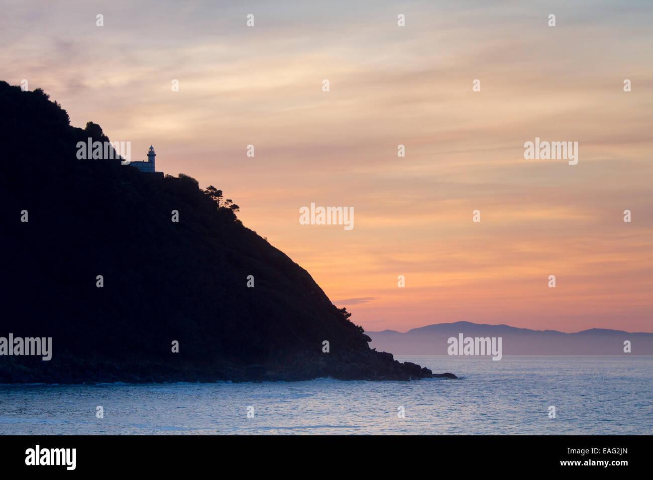 Sunset in Donostia - San Sebastian. - Stock Image
